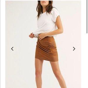 Free People Rumi Ruched Camel Tan Mini Skirt